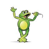 frog cartoon or mascot singing and dancing happily vector illustration - 186705702