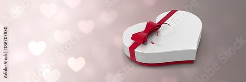 Valentines heart shaped gift box and love hearts background