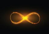 Infinity symbol background. Light yellow gold neon infinite, eternity concept - 186708138