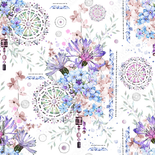 seamless pattern with watercolor flowers and textured ornaments - mandala. Abstract floral background. Tile with meadow wild flower and Geometric illustration. Cornflowers, me-nots - 186709194