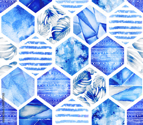 Navy blue geometric seamless pattern on white background. Abstract Watercolor hexagon with monstera leaves, stripes. grunge texture. Hand painted summer illustration. Marine style - 186709763