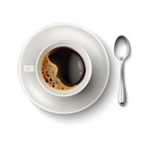 Fototapety Vector realistic cup coffee saucer spoon top view
