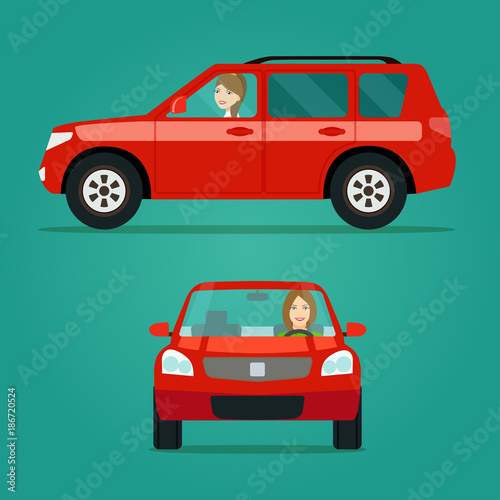 Aluminium Auto Red car two angle set. Car with driver woman side view and front view. Vector flat illustration.
