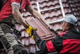 Red Roof Tiles Installation - 186721788
