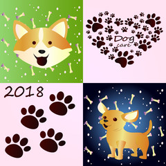 A collection of beautiful sketches with dogs. Funny corgi, close-up on a pattern background with dog treats. A little cute chihuahua dog. Care of dogs, beautiful ideas for logos.