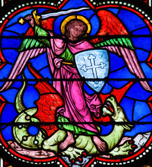 Saint Michael Slaying Satan depicted as a Dragon - Stained Glass