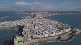 flying over gallipoli, famous italian seaside tourist destination, aerial view from drone 4k   - 186736917