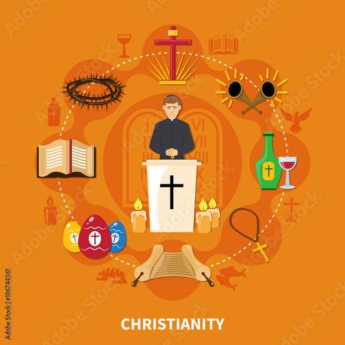 Plakát Religions Flat Composition