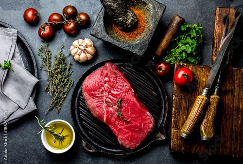 Aluminium Steakhouse Fresh raw meat steak beef tenderloin, herbs and spices around cutting board. Food cooking background with copy space