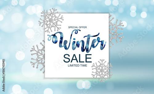 Zimowe tło sprzedaży oferta specjalna transparent tło dla biznesu i reklamy. Ilustracji wektorowych.