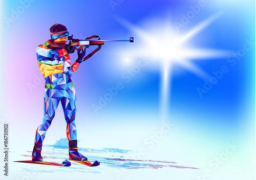 la-colorida-figura-poligonal-de-un-fusilero-con-un-rifle-biatlon-con-un-fondo-blanco-y-azul-ilustracion-vectorial-fondo-azul-en-un-triangulo-geometrico-de-estilo-xxiii-juegos-de-invierno
