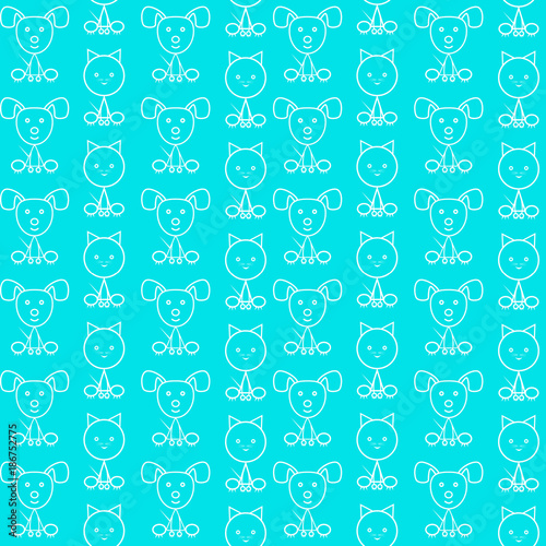 Seamless pattern with a small kitten and puppy. Vector illustration