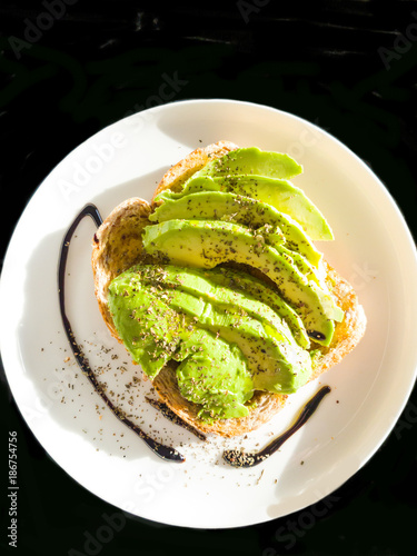 Homemade breakfast of avocado on toast