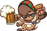 Mexican chihuahua holding a beer mug. Vector clip art illustration with simple gradients. All in a single layer.