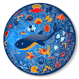 Circular pattern with marine life