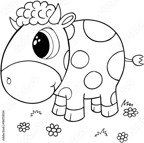 Fotobehang Cartoon draw Cute Cow Vector Illustration Art