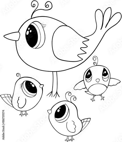 Foto op Plexiglas Cartoon draw Cute Birds Vector Illustration Art