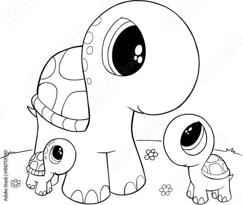 Foto op Plexiglas Cartoon draw Cute Turtles Vector Illustration Art