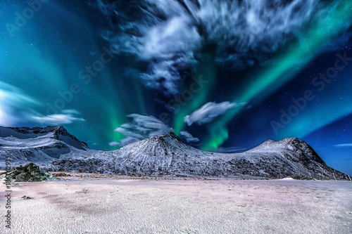 Fotobehang Noorderlicht Aurora borealis at Myrland
