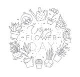 Monogram pots with plants enjoy flower day - 186769311