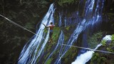 Fit Man Highlining Over A Waterfall In Oregon - 186772180