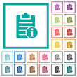 Note info flat color icons with quadrant frames