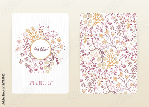 Cover design with floral pattern. Hand drawn creative flowers. Colorful artistic background with blossom. It can be used for invitation, card, cover book, notebook. Size A4. Vector illustration, eps10 - 186775740