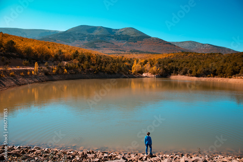 Fotobehang Groen blauw forest in autumn, in monte moncayo in zaragoza spain