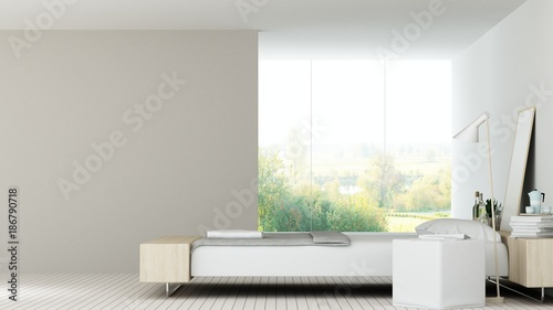 The interior bedroom space 3d rendering and nature view