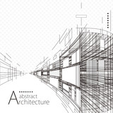 Architecture construction perspective designing black and white abstract background.