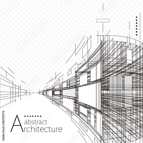Architecture construction perspective designing black and white abstract background.   - 186795778