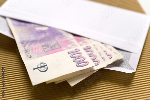 czech economy and finance - czech crown banknotes in a envelope - bribe and corr Poster