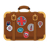 Vector illustration of travel brown suitcase - 186806389