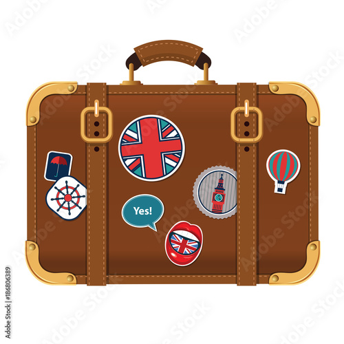 Vector illustration of travel brown suitcase