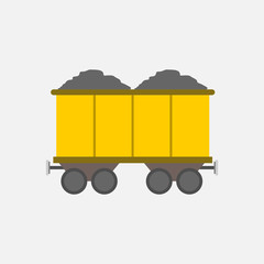 Flat Style Yellow Mining Transport Train Vector Illustration Graphic
