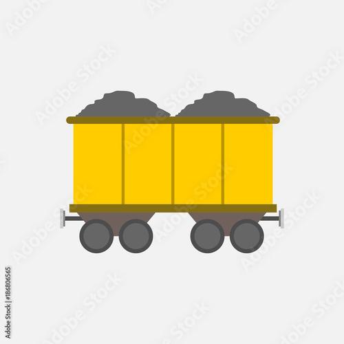Fototapeta Flat Style Yellow Mining Transport Train Vector Illustration Graphic