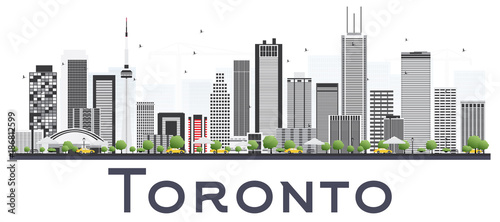 Poster Toronto Canada City Skyline with Color Buildings Isolated on White Background.