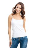 Happy smiling young woman, over white - 186816357