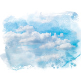 Blue sky with white cloud. Artistic natural abstract background. Watercolor painting (retouch). - 186820558