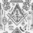 Seamless background with mason and mysterious symbols. Freemasonry and secret societies emblems, occult and spiritual mystic drawings. Tattoo design, new world order.