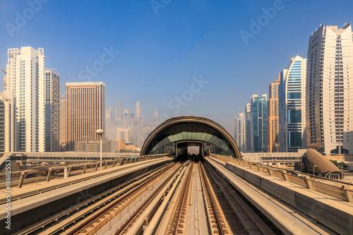 View of the Dubai Metro Red Line.