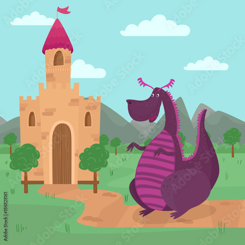 Foto op Aluminium Kasteel Cute dragon standing in front of a castle, fairy tale story for children vector Illustration