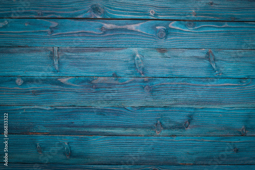 Wooden texture blue background. Top view. Copy space. - 186833322