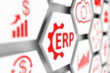 ERP concept cell blurred background 3d illustration