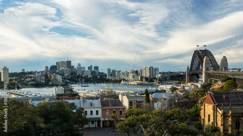 Aluminium Sydney Sydney harbor panorama during the day with old buildings in the foreground and Milsons Point suburb in the background, Australia.