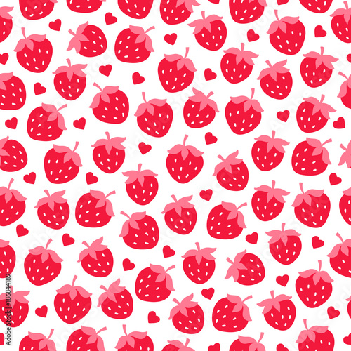 Valentine seamless pattern with strawberries and hearts - 186844189