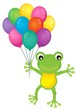 Frog with party balloons theme image 1