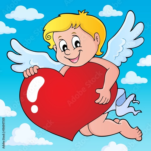 Poster Voor kinderen Cupid holding stylized heart image 2