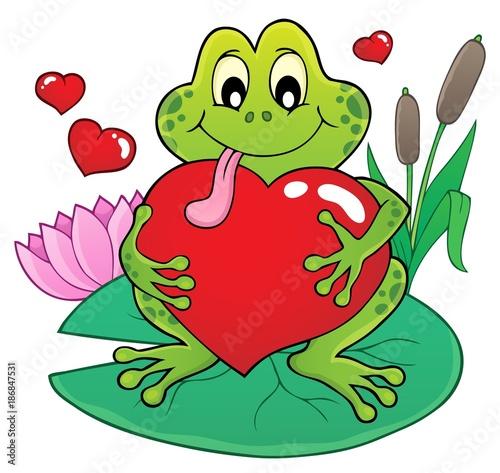 Foto op Plexiglas Voor kinderen Valentine frog theme image 2