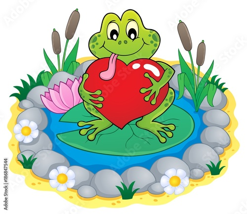Foto op Plexiglas Voor kinderen Valentine frog theme image 3